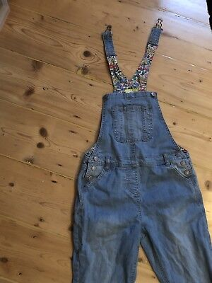 Mini Boden Girls Light Denim Dungarees Pretty Floral Lining 9-10 Years