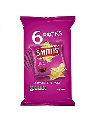 Smiths Crinkle Salt and Vinegar 6 Pack 114g