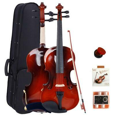 Glarry Maple Wood Natural Color 4/4 Size Acoustic Violin + Fiddle Accessories