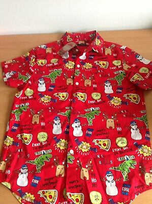 Next Boys Red Christmas Short Sleeved Shirt Size Age 10 Years New With Tags