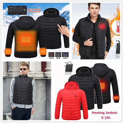 Mens Digital Heating Hooded Work Jacket  Motorcycle Riding Skiing Cozy Coats NEW