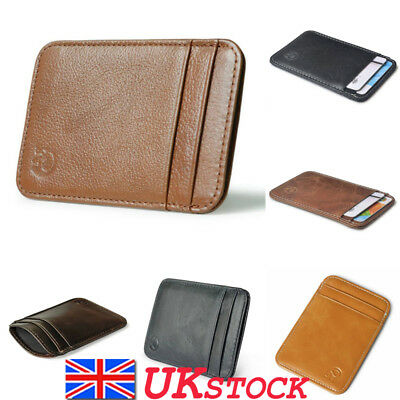 Mens Women Leather Mini ID Credit Card Holder Wallet RFID Block Purse Protection