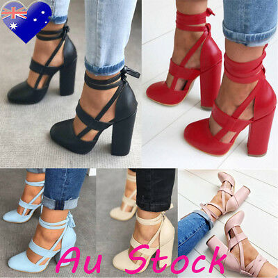 Women Ladies Lace Up High Heel Strappy Sandals Ladies Tie Thick Shoes Size