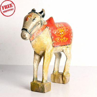 1850S Indian Old Antique Hand Carved Polychrome Wooden Holy Cow Nandi Figurine 6
