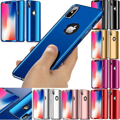 360° Full Protection Case Plating Mirror Skin Cover For iPhone XS Max X 8 7 Plus