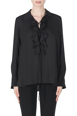 Joseph Ribkoff Black Ruffled Lace-Up Collared Neck Top Blouse New 183266