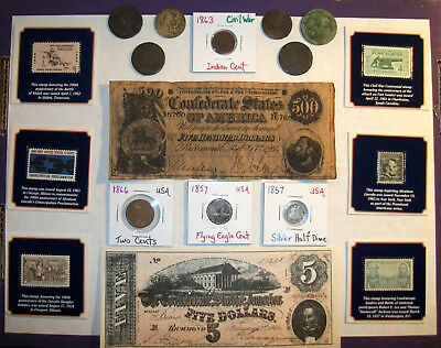 Junk Drawer Lot - Old Coins and Stamps - Civil War Theme