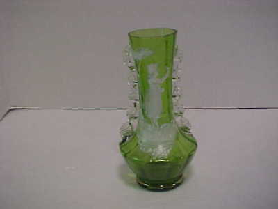 Antique Green Glass with Rigaree Mary Gregory Vase