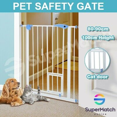 100cm Tall Security Gate Baby Safety Adjustable Pet Dog Stair Barrier Cat Door