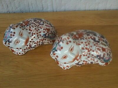 A Pair Of Matching Imari Vintage/antique Cats. Lovely Condition. Length 13Cm.