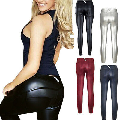 Damenhosen Sexy Leggins Lack-Optik Kunstleder Lederimitat Thermo Stretch Legging