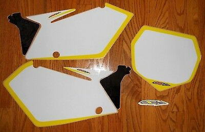 N-Style RMZ 450 ( 2005 2006 ) WHITE Number Plate Backgrounds w/ FREE SHIPPING