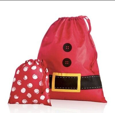 *NEW* Thirty One Timeless Memory Pouches Holiday Gift Bags In A Santa Suit - NIP