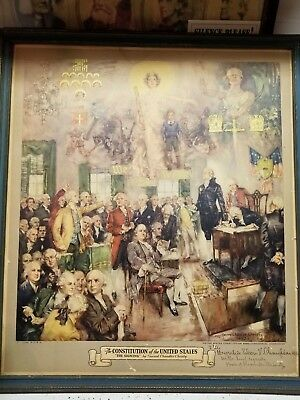 Vintage 1937 Lithograph of 'The Signing' signed Howard Chandler Christy - Peoria