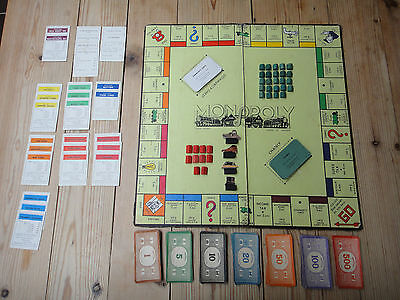 VINTAGE 1940s  WW2 MONOPOLY BOARD GAME WITH WOOD AND CARDBOARD PIECES PAT 453689