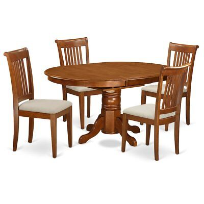 5  Pc  set  Avon  with  Leaf  and  4  Cushiad  Chairs  in  Saddle  Brown