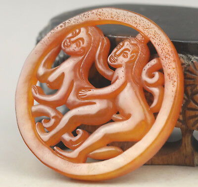 Old Chinese natural jade hand-carved man and woman pendant NO.F128