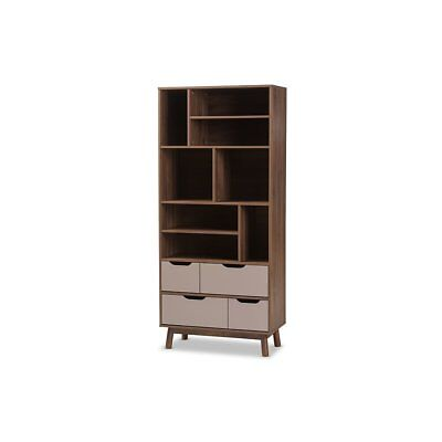Britta Mid-Century Modern Walnut Brown and Grey Two-Tone Finished Wood Bookcase