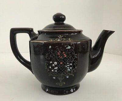 Vintage Eight Sided Moriage Redware Hand Painted Japanese Brown Betty Teapot