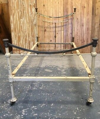 Victorian Iron & Brass Single Bed Frame Original As Found Unrestored Condition