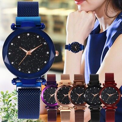 Fashion Quartz Stainless Steel Band Mesh Magnet Buckle Starry Sky Analog Wrist 9