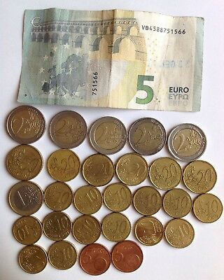 Lot of Euro Coins and Paper Money - €19.00 Face Value