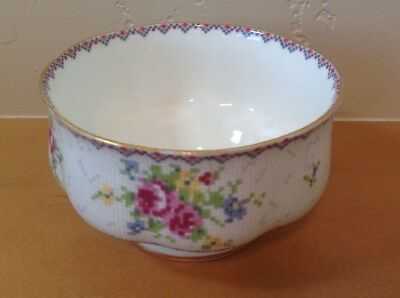 Royal Albert Petit Point Open Sugar Bowl Needlepoint Design Floral England