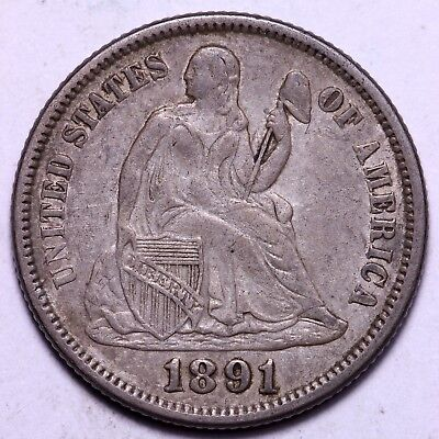 AU 1891 Seated Liberty Dime - Nice, Original                  K7JCN
