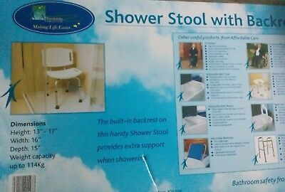 Shower Stool With Back Rest, & Instructions, Cost £45
