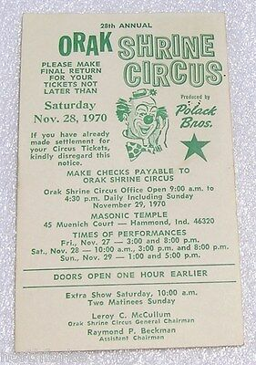 ORAK Shrine Circus Postcard Advertisement 1970, Polack Bros., Hammond, Ind. 28th