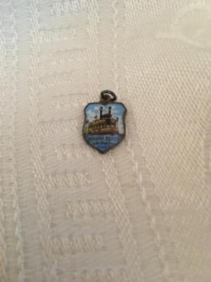 Vtg Enamel Indiana Beach Lake Shafer Charm Souvenir Silver Made in Germany