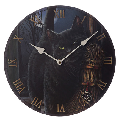 Brush With Magic Wall Clock By Lisa Parker Gothic Wicca Pagan Black Cat