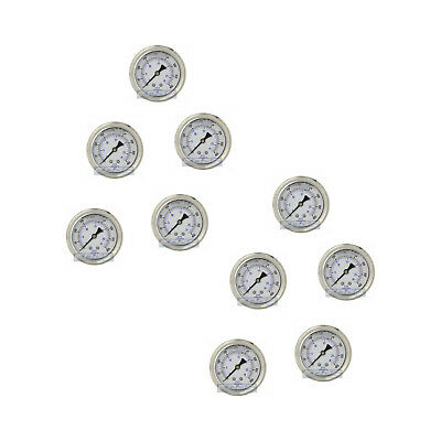 "10 Pack Liquid Filled Pressure Gauge 0-400 Psi, 2.5"" Face, 1/4"" Back Mount Wog"