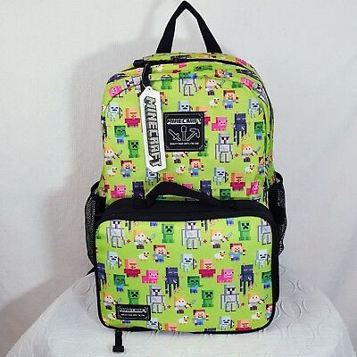 "MINECRAFT Backpack for Kids 16"" with Detachable Insulated Snack/Lunch bag NWT"