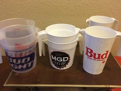 7 BEER PITCHERS WHITE MILLER Genuine, Budweiser, CLEAR BUD LIGHT party bar ware