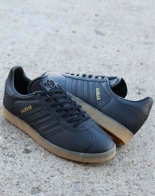 Adidas Gazelle Trainers in Black Leather & Gum Sole - retro classic, originals