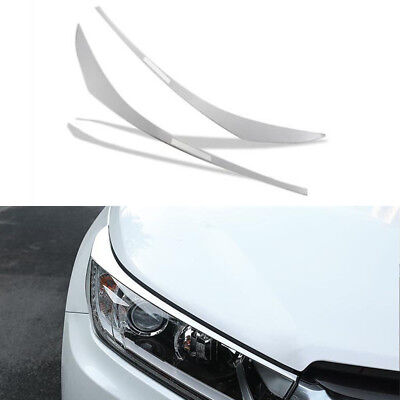 Silver Stainless front head light Eyebrow cover trim For Toyota Highlander 2018