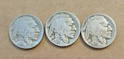1935 P, 1935 D & 1935 S BUFFALO NICKELS - Circulated