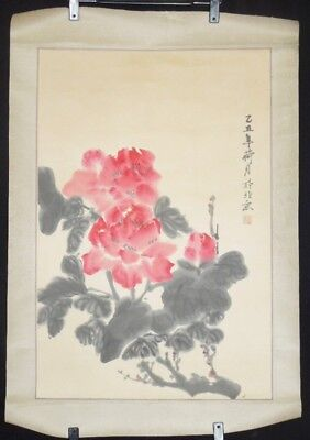 CHINESE PAINTING Scroll China Peony hanging Asian OLD  Paper Antique Makuri e89