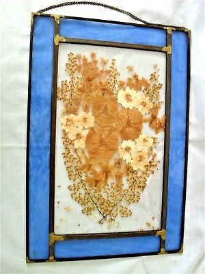 Large Vintage Beveled Stained Glass Blue w/ Dried Flowers Hanging Panel ~ Nice!