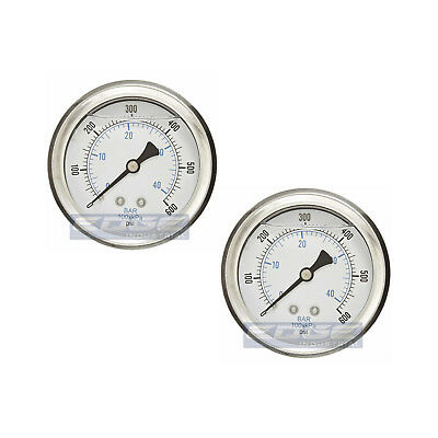 "2 Pack Liquid Filled Pressure Gauge 0-600 Psi, 2.5"" Face, 1/4"" Back Mount Wog"