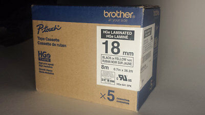 """Genuine BROTHER P-touch Black on Yellow 3/4"""" 18mm Label Tape 5-Pack HGE641"""