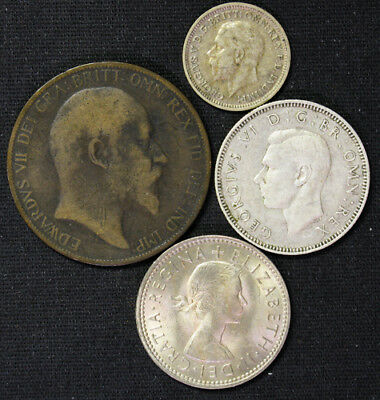 Lot of 4 Great Britain Penny, 3 Pence, Shilling 1903, silver 1934, silver 1940,