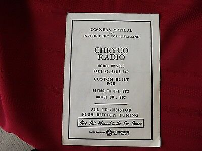 Circa 1957 Chryco Radio - Owner's Manual and Installation Instructions