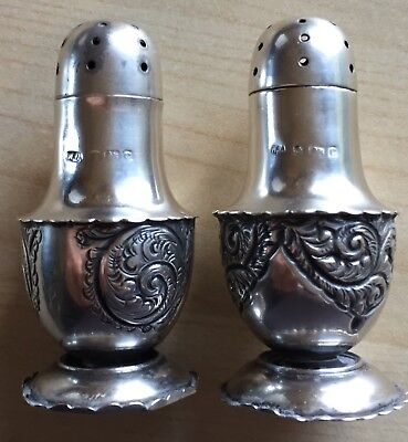 Silver cruet set 1902 Birmingham WA William Adams small antique set salt pepper