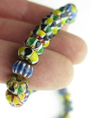 Glass trade bead necklace. North Indian chevron beads.