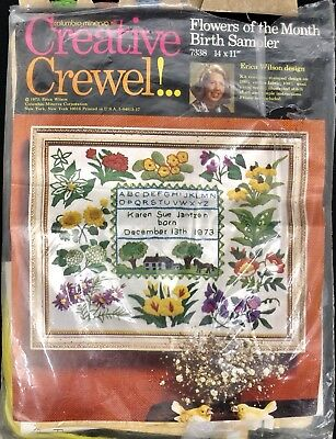 Erica Wilson Flowers of the Month 1973 Columbia Minerva CREWEL Embroidery Kit