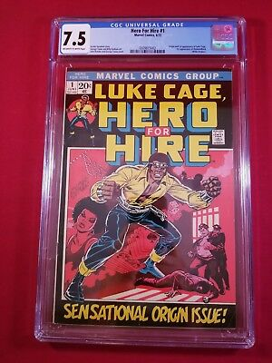 Hero For Hire #1 Cgc 7.5 Ow *origina/1St Appearance Of Luke Cage Taking Offers!