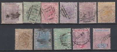 Sierra Leone, Selection Of 11 Victorian Stamps All Good To Fine Used