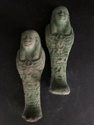 Rare Ancient Egyptian Faience Amulet 2 Shabti 26th DYN 680 Bc